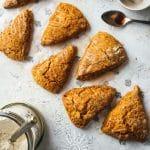 Pumpkin scones with cinnamon glaze drizzle.