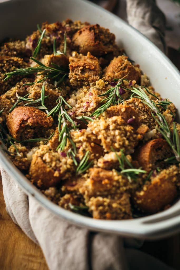 Golden brown vegan stuffing with a cloth napkin.