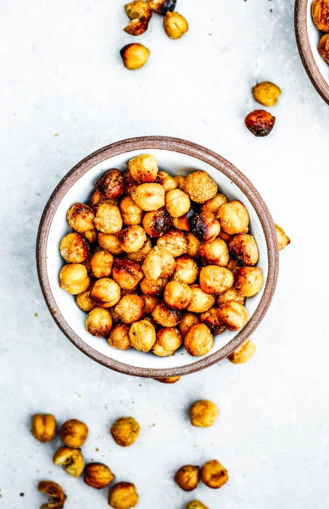 Up close photo of roasted garbanzo beans.
