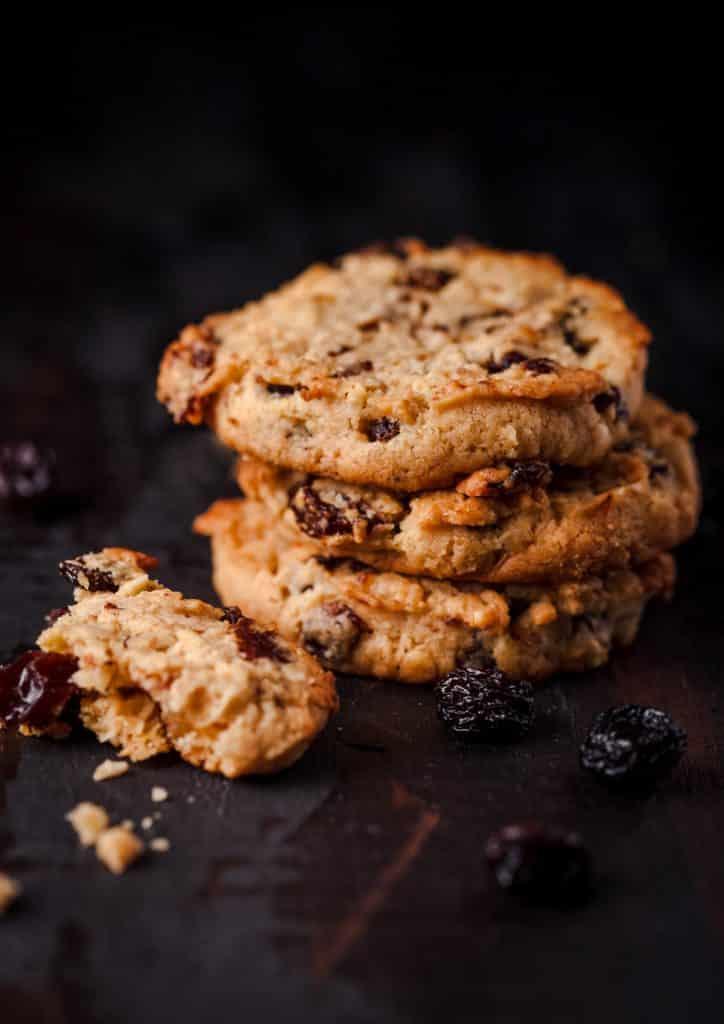 Stack of oatmeal raisin cookies.