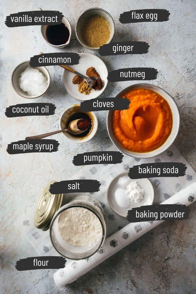 Ingredients for vegan pumpkin scones.